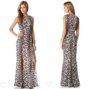 Lagence double keyhole gown leopard print maxi 0